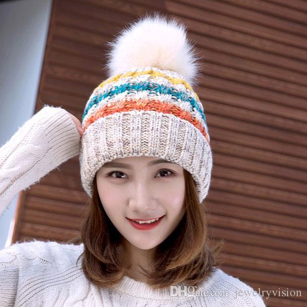 جديد الخريف المرأة شتاء حك قبعة الصوف الكرة الصوف بيني كاب سيدة محبوك قبعة كاب الدافئة الكروشيه القبعات M242