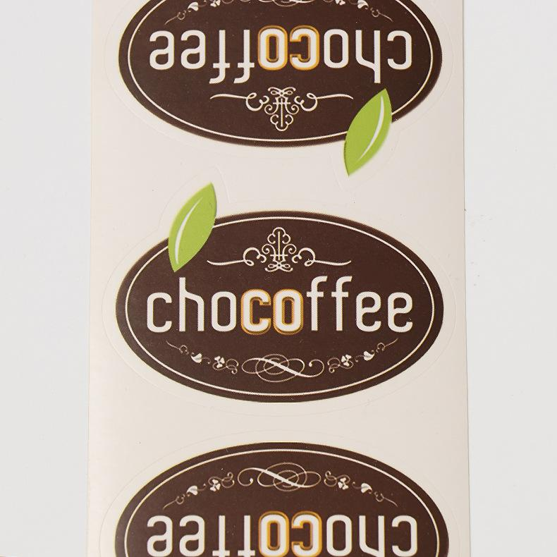 Customized Coated Paper Food Label Stickers Oil proof Coffee Package on Bags Oval Custom Food Package Stickers