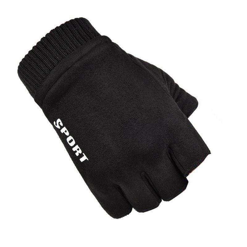 2019 Nuevo 1 par de guantes de ciclo unisex de gamuza sin dedos Guantes resistentes al frío conductores de motocicletas deportes al aire libre respirables