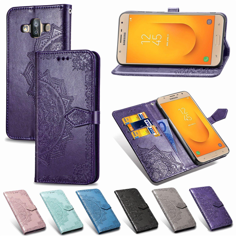 Teléfono pie de apoyo de la carcasa para Samsung Galaxy J7DUO PU cubierta de cuero en relieve de la datura Flores antideslizante a prueba de polvo (Modelo: J7DUO)