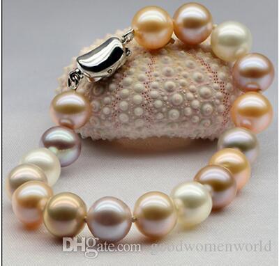 Trasporto libero veloce Nuovi monili reali fini della perla 10-11mm braccialetto del sud della perla del braccialetto viola dentellare del sud bianco 7.5-8inch