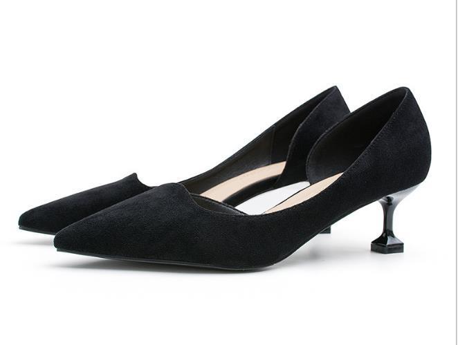 Nouveaux Hauts talons Escarpins sexy mariée partie talon épais ronde cuir Toe femmes Chaussures à talon pour dame de bureau femmes