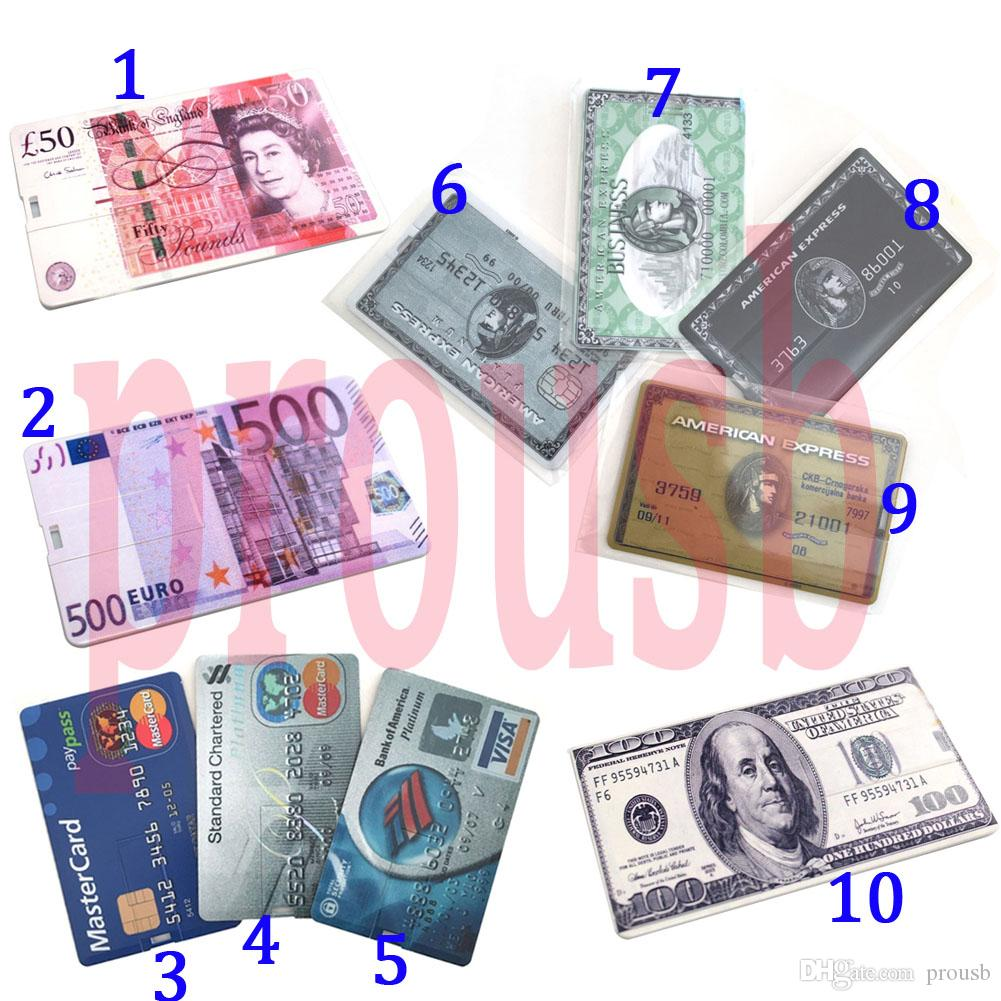 10PCS 1GB/2GB/4GB/8GB/16GB Credit Card USB Flash Drive USD/POUNDS/EUR/EXPRESS/Bank Card 10 Patterns Choices True Storage