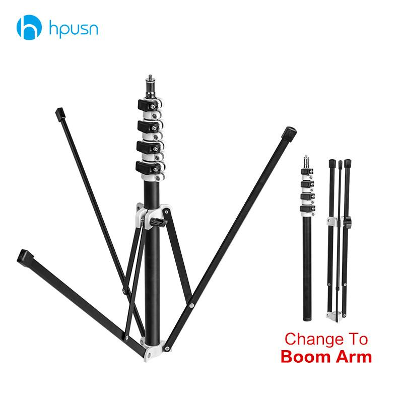 Freeshipping HPUSN B5 Collapsible 210cm Light Stand 6.9ft Metal portable foldable tripod for studio Flash lighting Kits support 5 section