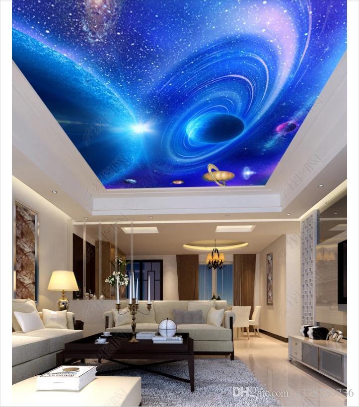 Custom 3D seda zenith mural wallpaper foto decoración Planetaria pista sala de estar niños techo cenit mural Papel de parede