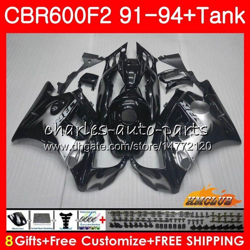 Kropp + Tank för Honda CBR 600F2 CBR600FS CBR 600 FS F2 91 92 93 94 40HC.24 600cc CBR600 F2 CBR600F2 1991 1992 1993 1994 Fairing Silver Flames
