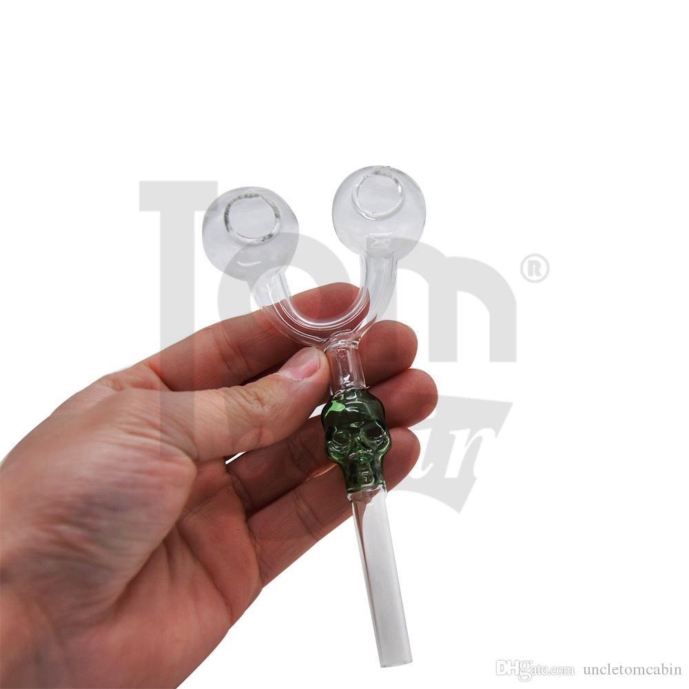 Tubería con manija para fumar de vidrio del cráneo con doble recipiente 145MM Tubería quemadora de aceite de vidrio Tubería para fumar de balanceador Vidrio Tabaco Tubería de agua Aceite Rig Bong