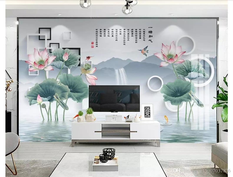 3D обои пользовательские фото фреска обои новый китайский стиль ручная роспись лотоса кальмар 3D стерео ТВ фон стены papel де parede