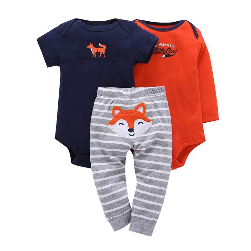Yenidoğan seti 3PCS bebek Bebek Giyim takım pamuklu uzun kollu o-boyun tulum + pantolon yürümeye başlayan erkek bebek kız bahar sonbahar kıyafetler