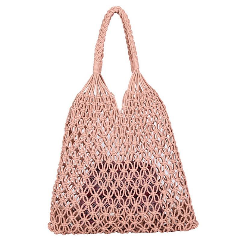 Arbeiten Sie populäre Strand-Beutel-Frauen-handgemachte gesponnene Composite-Tasche Neuen Netz Seil Weben Hohl Straw Einkaufen 2 Sets