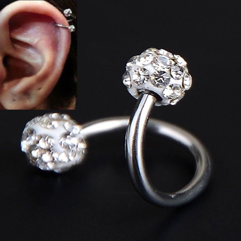 Cartilage Earring Star Crystal Stainless Steel Jewelry Ear Stud Body Piercing