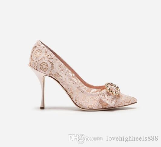 Beige Spitze High Heels Einzelne Schuhe Spitz Stiletto Heels Pumps Verzierte Kristall Schnalle Frauen Hochzeit Schuhe