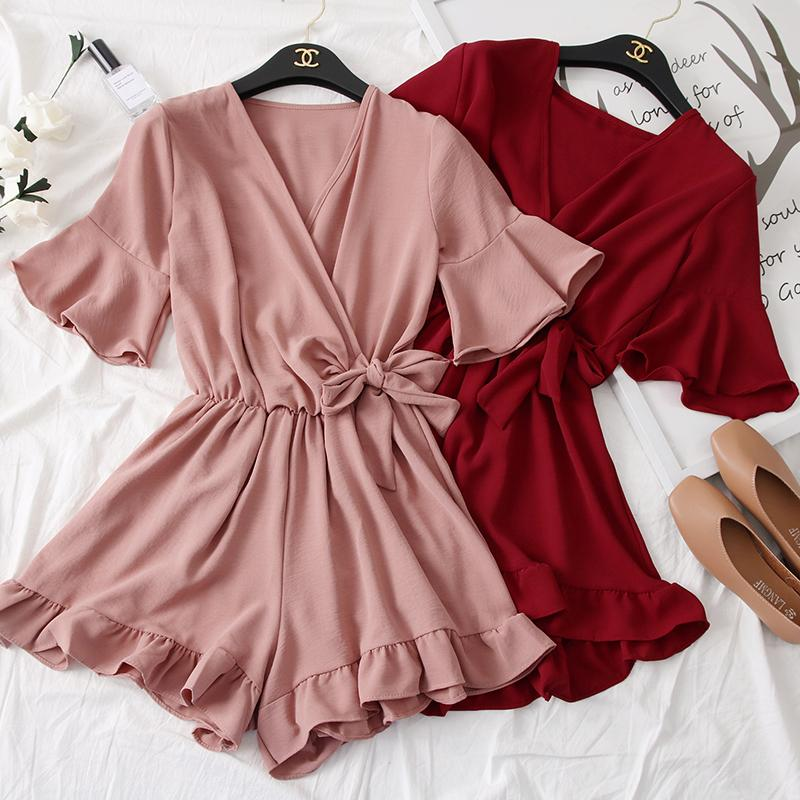 Skoonheid Women Rompers Casual Wide Leg Pants Overalls Short Sleeve V Neck Solid Playsuits Summer Beach Chiffon Ruffle Jumpsuits Y19071801