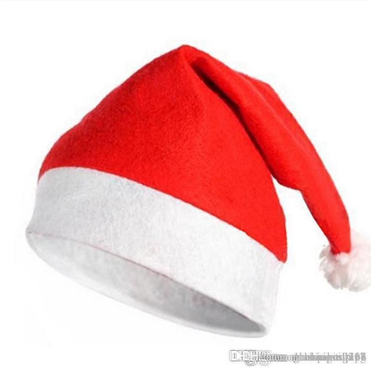 cheapest Red Santa Claus Hat Ultra Soft Plush Christmas Cosplay Hats Christmas Decoration Adults Christmas Party Hats