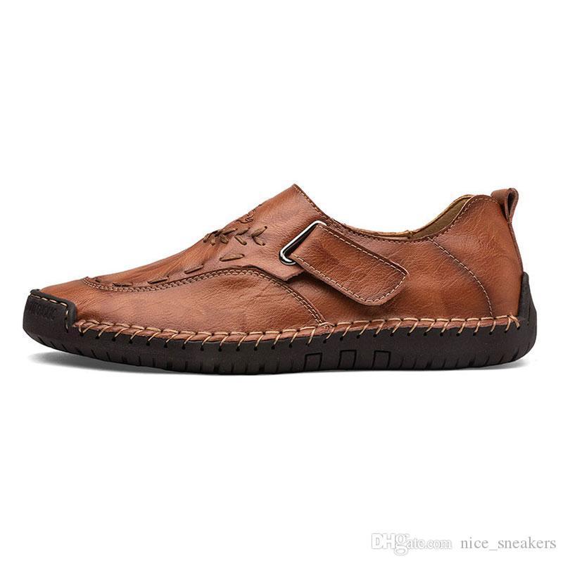 -Бренд повседневная обувь ручная сшивка мужской комплект туфли низкий большие ноги Англия горох туфли кожаные мужские размер 40-44