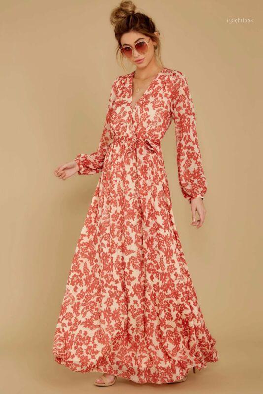 ABD Kadın Boho V Yaka Uzun Kollu Çiçek Elbise 2020 Yaz Yeni Bayanlar Lace Up Tatil Parti Akşam Uzun Maxi Elbise Elegant1