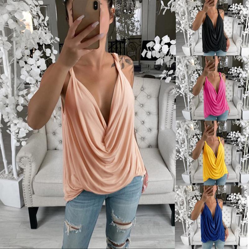 Camiseta del verano mujeres Streetwear escotado con tiras hunde Top Sexy Ladie flojo plisado elegante camisa T-Shirtes damas kleding
