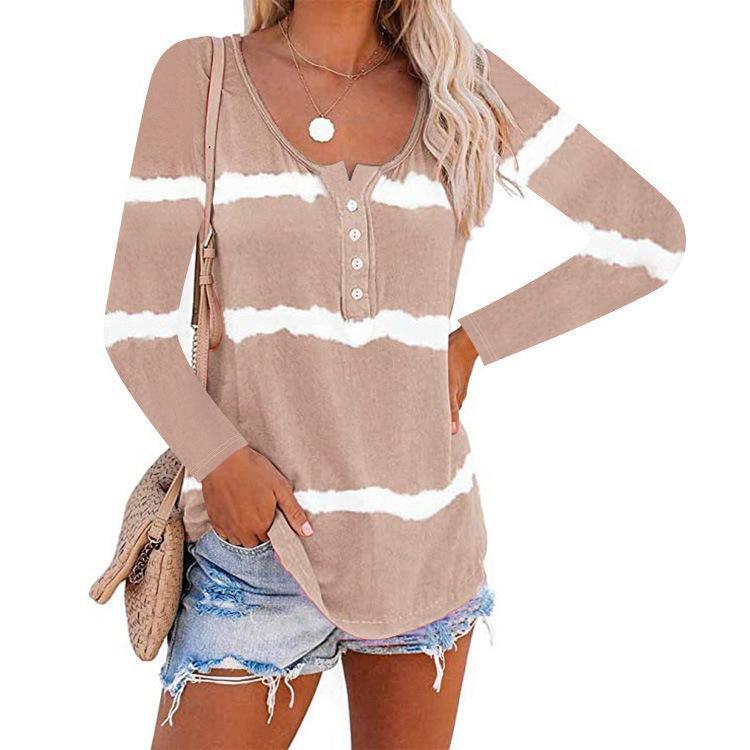 Frauen gestreiftes Langarm-T-Shirt Knopf-Dekoration O-Ansatz Top Famale Krawatten-T-Shirts