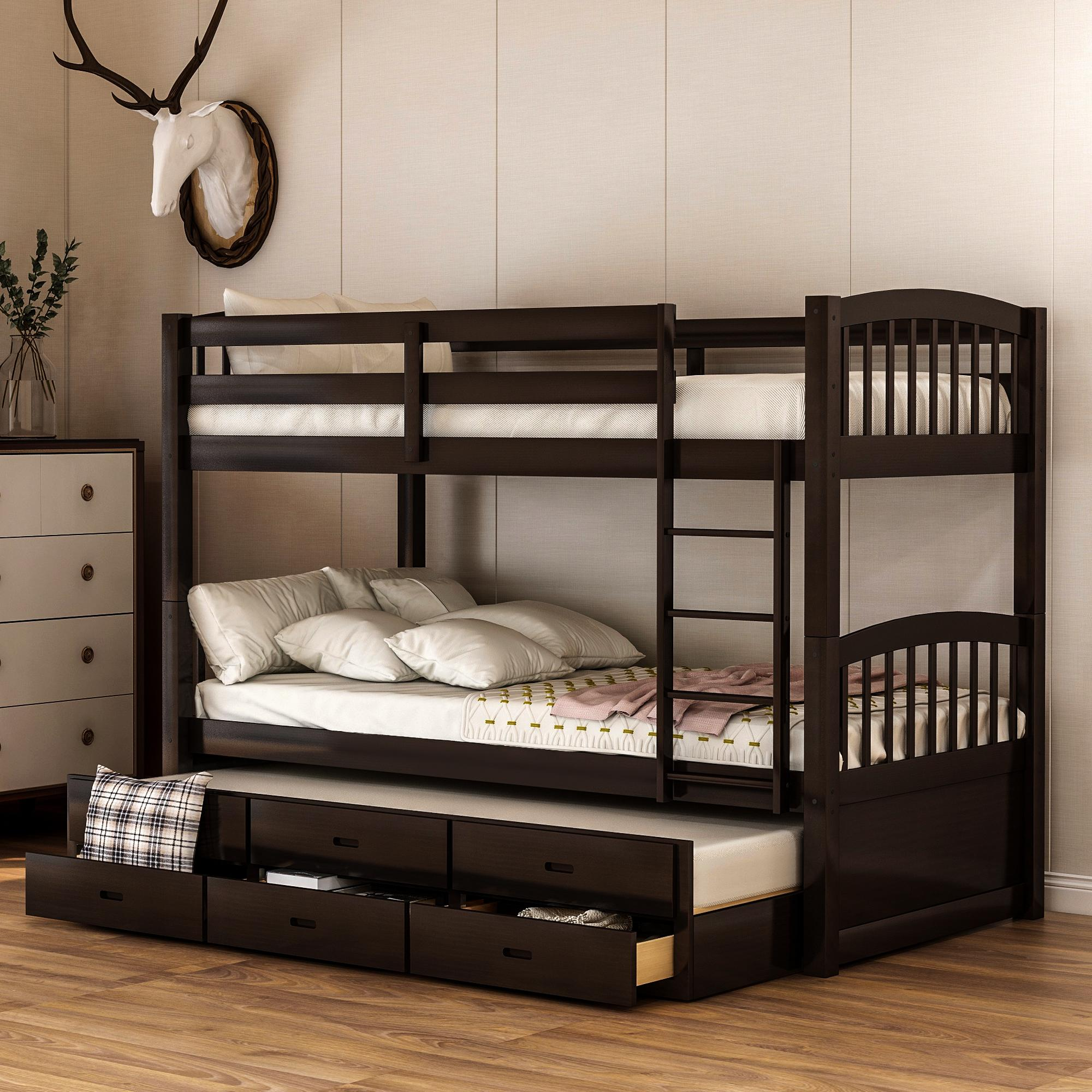 2020 Twin Over Twin Wood Bunk Bed Trundle Drawers Espresso White