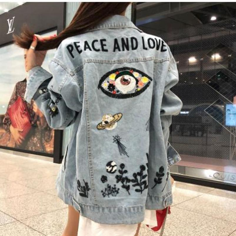 SexeMara fashion New light blue heavy work sequin embroidery long-sleeved denim jacket Free shipping Y191031