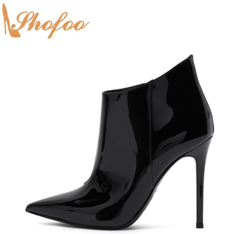 Black Stilettos Ankle Boots High Thin