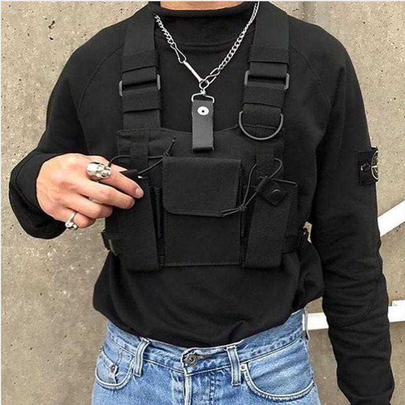 Black Hip Hop Streetwear Military Chest Rig сумка для мужчин Functional талии пакеты Регулируемых Карманов жилет моды Грудь сумка SH190924