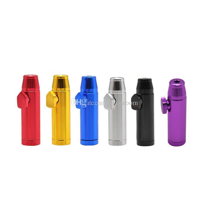 Liga de alumínio de metal bala foguete tubo em forma de pó para inalações Snorter Sniff dispensador nasal cachimbo aspirador bongs vidro tabaco para cachimbo DHL livres