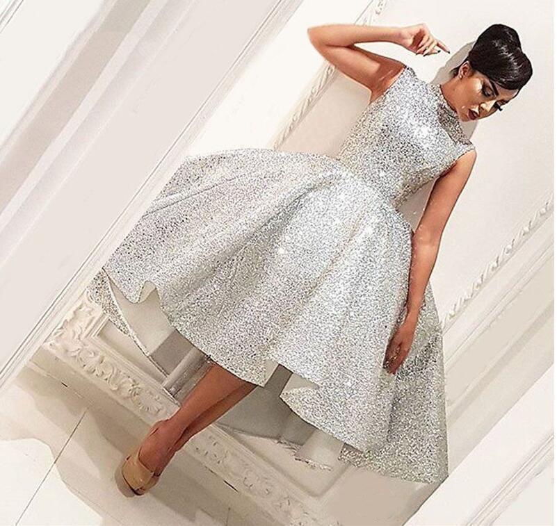 Bling Muslim Abendkleider 2019 Ballkleid Tee Länge Seuqins Islamisch Dubai Saudi-arabische lange formales Abendkleid Abendkleid
