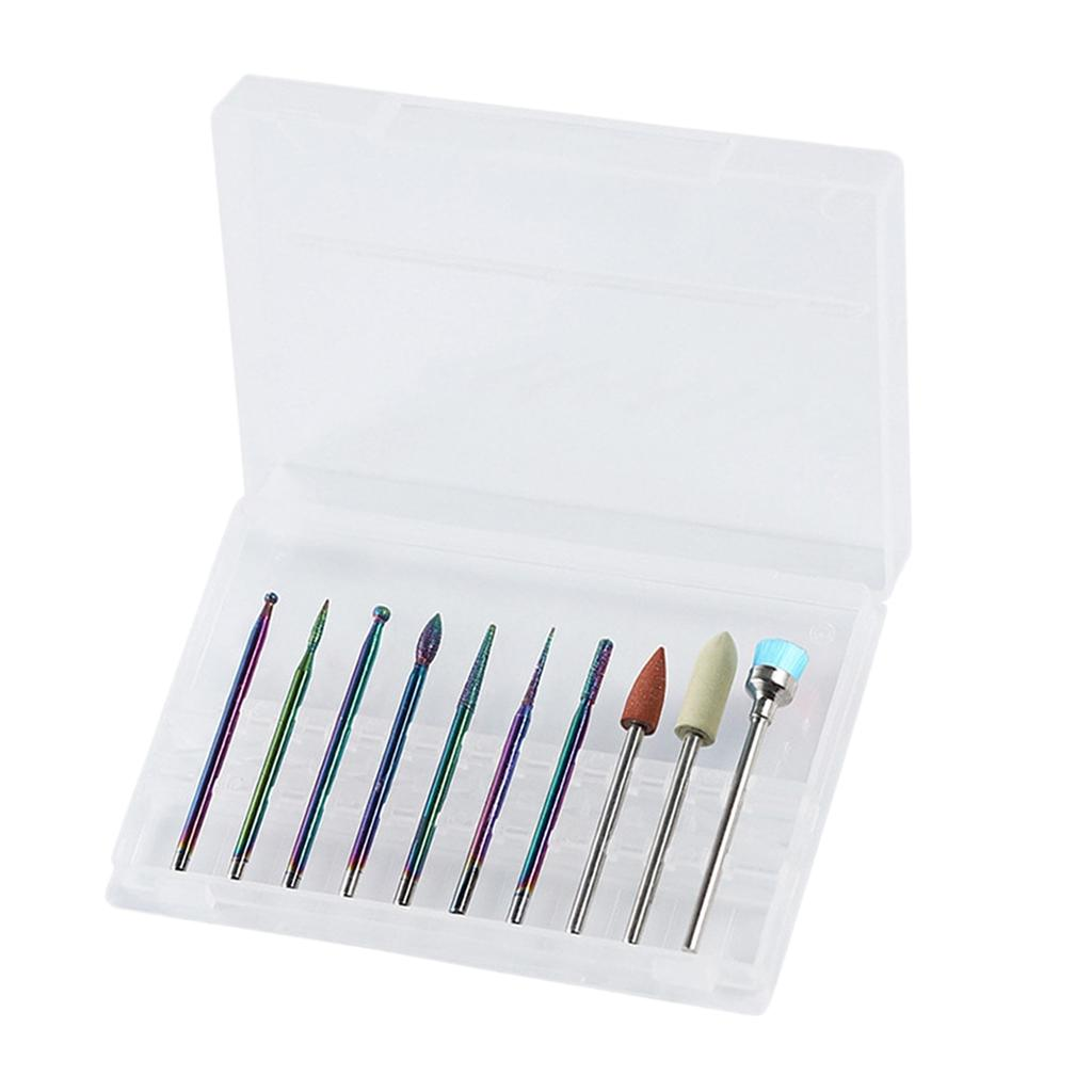 10pcs Electric Nail Drill Bits Grinding Polishing Head Cleaning Brush Set