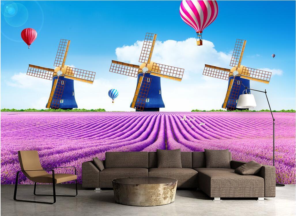 3d carta da parati sulla foto muro personalizzato Fiore di lavanda marina olandese mulino a vento soggiorno arredamento casa murali 3d Tappezzeria per le pareti 3 d