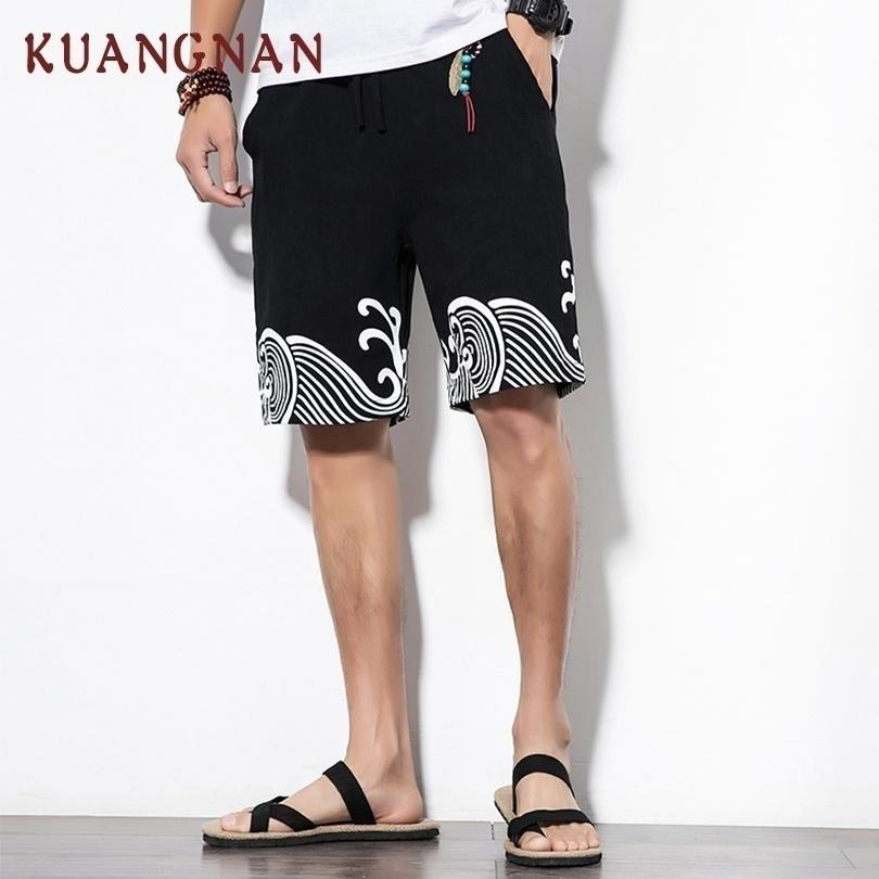 Kuangnan cinese Casual Shorts Uomo con coulisse Waves stampato Streetwear Mens Shorts Estate Uomo Shorts Cotton Beach Abbigliamento 2018 Y19050702