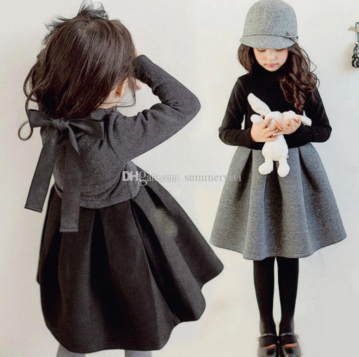 Children party dresses kids ruffle collar long sleeve princess dress spring girls pleated dress autumn winter kids clothing F2579