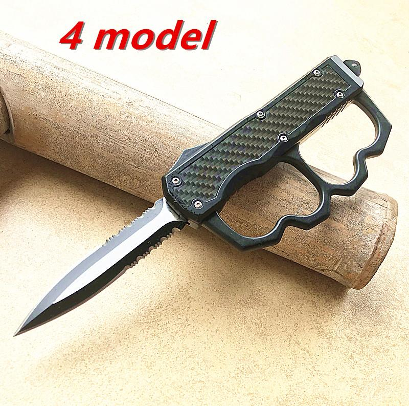 Großhandel 4-Modell Außen Camping taktisches Messer Kohlefaser Griff tanto / Wassertropfenschaufel mit taktischer Messerhülse