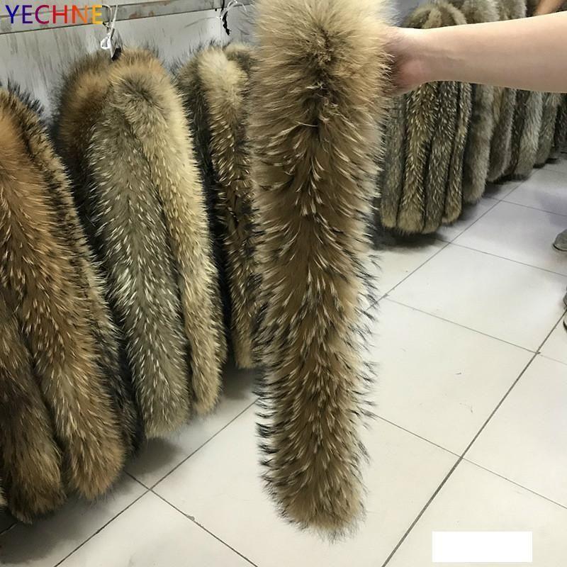 YECHNE de longth réel Veste en fourrure col femmes Manteau de fourrure Foulards de luxe Raccoon Écharpe d'hiver