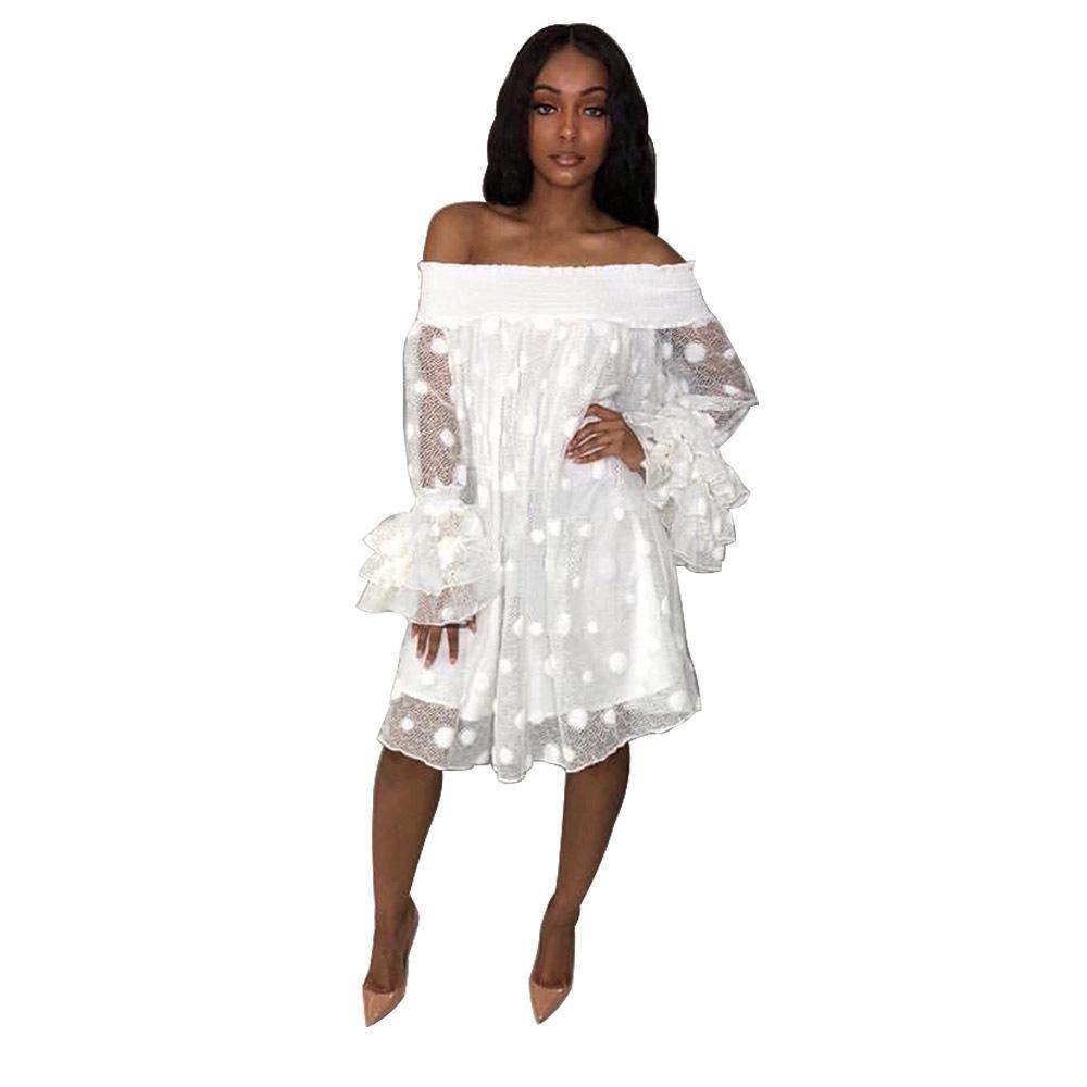 Kadın Zarif Off Omuz Uzun Ruffle Kol Gevşek Elbise Beyaz Mesh Nokta Mini Elbise Seksi Şeffaf Parti Elbise vestidos yazdır