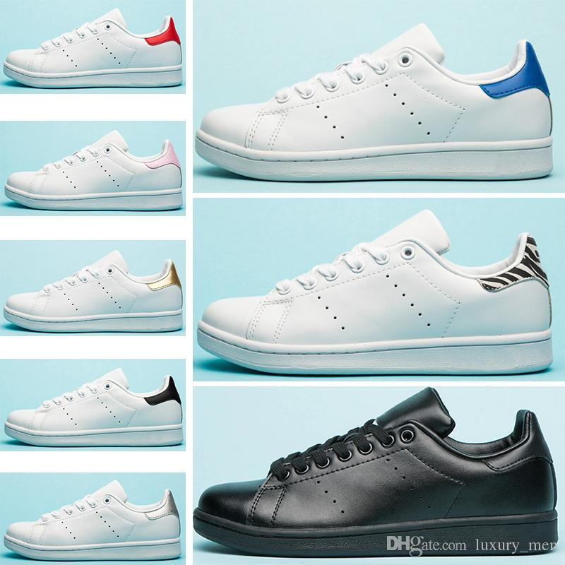 Adidas stan smith YENI kadın Tasarımcı Ayakkabı Klasik erkek kadın düz Üçlü Beyaz kırmızı Pembe Yeşil erkek deri rahat spor sneakers 36-45 toptan dropship