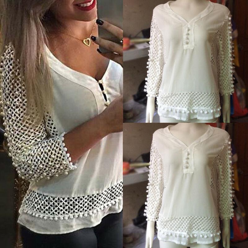 Женщины дамы CasualTops Рубашка женская Летняя Сыпучие Топы с длинным рукавом Блузка