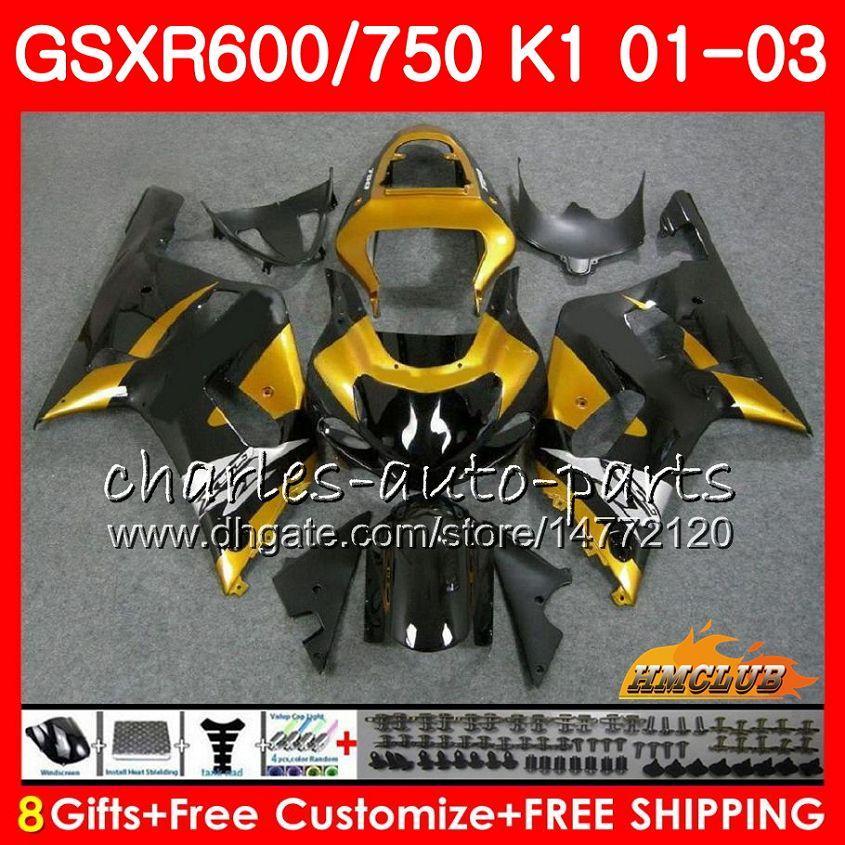 8Gifts Body for Suzuki GSXR 600 750 GSXR600 2001 2002 2003 4HC.67 GSX R750 GSXR-600 GSX-R750 K1 Black Golden GSXR750 01 02 03 Kit carenatura