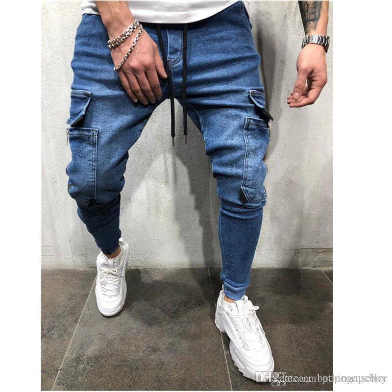Erkek tasarımcı kot sıcak tarzı Avrupa ve Amerikan erkek Denim kumaş rahat spor kot Erkek Giyim