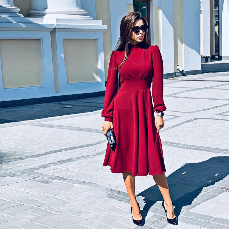 Le donne Vintage una Parte linea Ladies Dress Lanterna manica o collo di modo elegante 2019 Nuovo Inverno Autunno Vestito longuette Vestiti