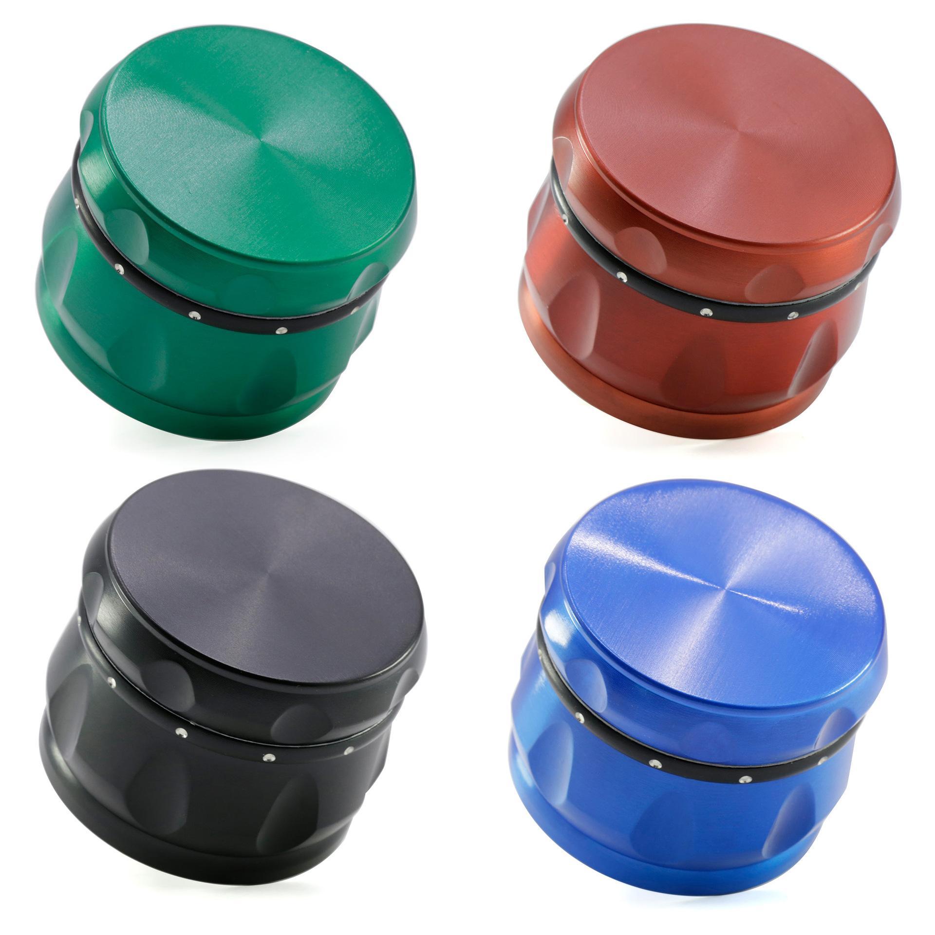 Molino de alta calidad Herb Grinder 4 colores Aleación de zinc 4 Piezas 63 mm Fumar Metal seco Molinillo de hierba trituradora de tabaco DHL libre