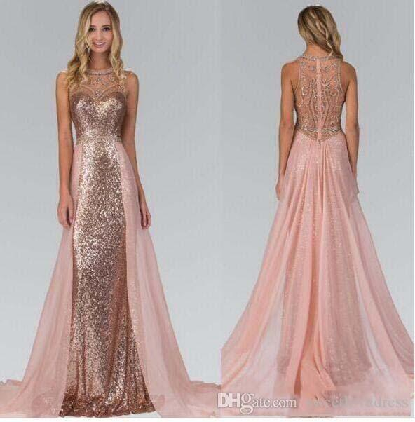 Sheer Neck Rose Gold Sequin Long Prom Dresses With Sequin Beaded Formal Evening Dreses With Chiffon Vestido De Festa Prom Dress On Sale Prom Dresses