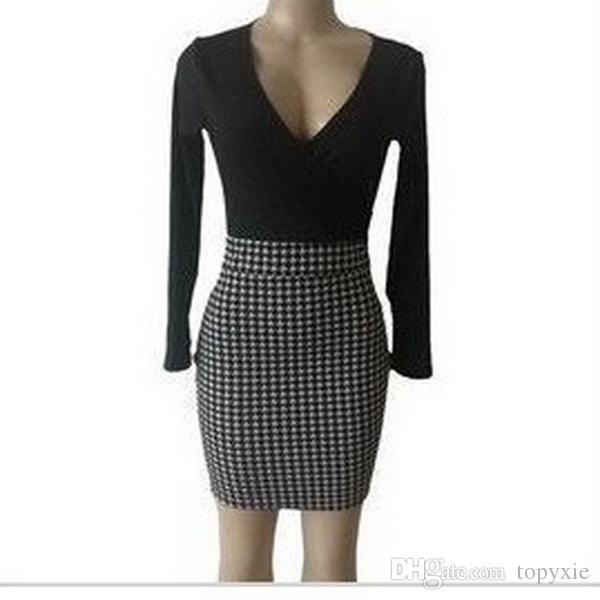 New fashion Women's dress 2019 new models Hot sale V collar Fashion leisure Long sleeve stitched professional V-neck dress