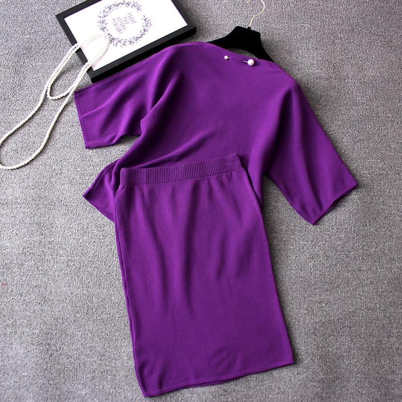 여성 디자이너 운동복 여성 의류 2 종 세트 여성 정장과 최고 2019 가을 긴 소매 여성 니트웨어와 두 조각