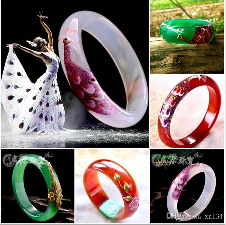 Natürliche Chalcedon geschnitzte Pfau Achat Armband frische Retro Damen verbreitert bemalte schmale Version des Armbandes wird Geschenke verkauft werden