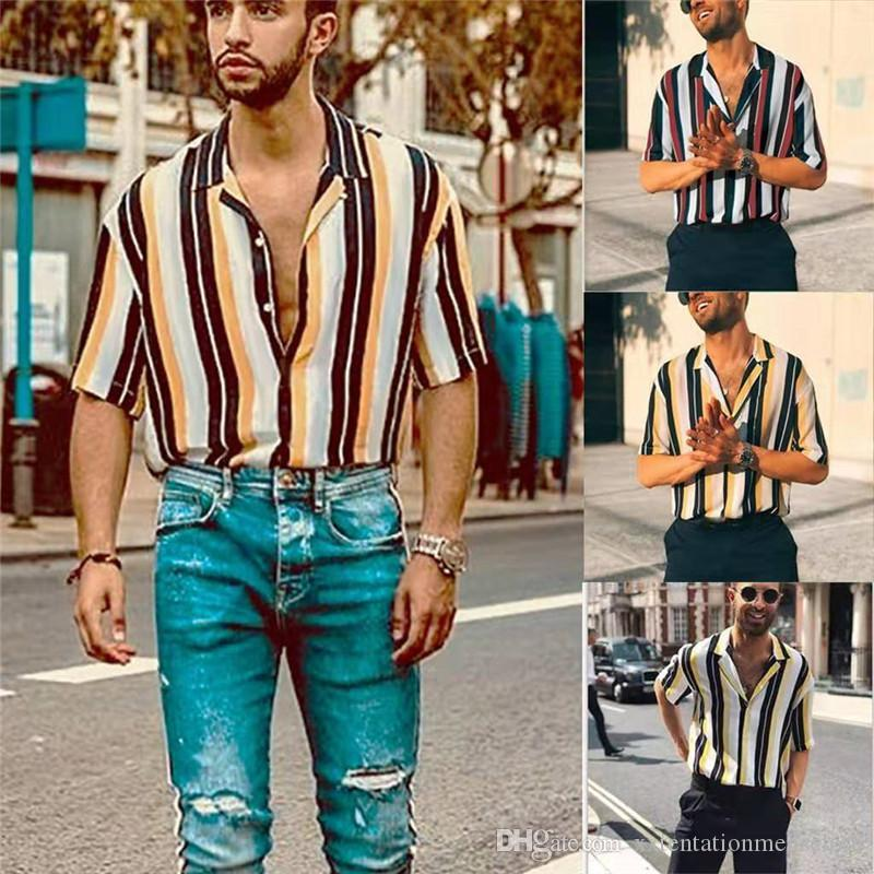 Gestreifte Herren Designer Shirts Sommer beiläufige lose Knopf Kurzärmlig Revers Hals Shirts Mode-Männer Shirts