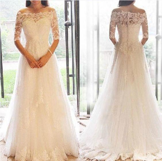 Neue 1/2 Langarm Brautkleider 2019 Spitze Applique Illusion Bodenlänge aus der Schulter Brautkleider Hochzeitskleid