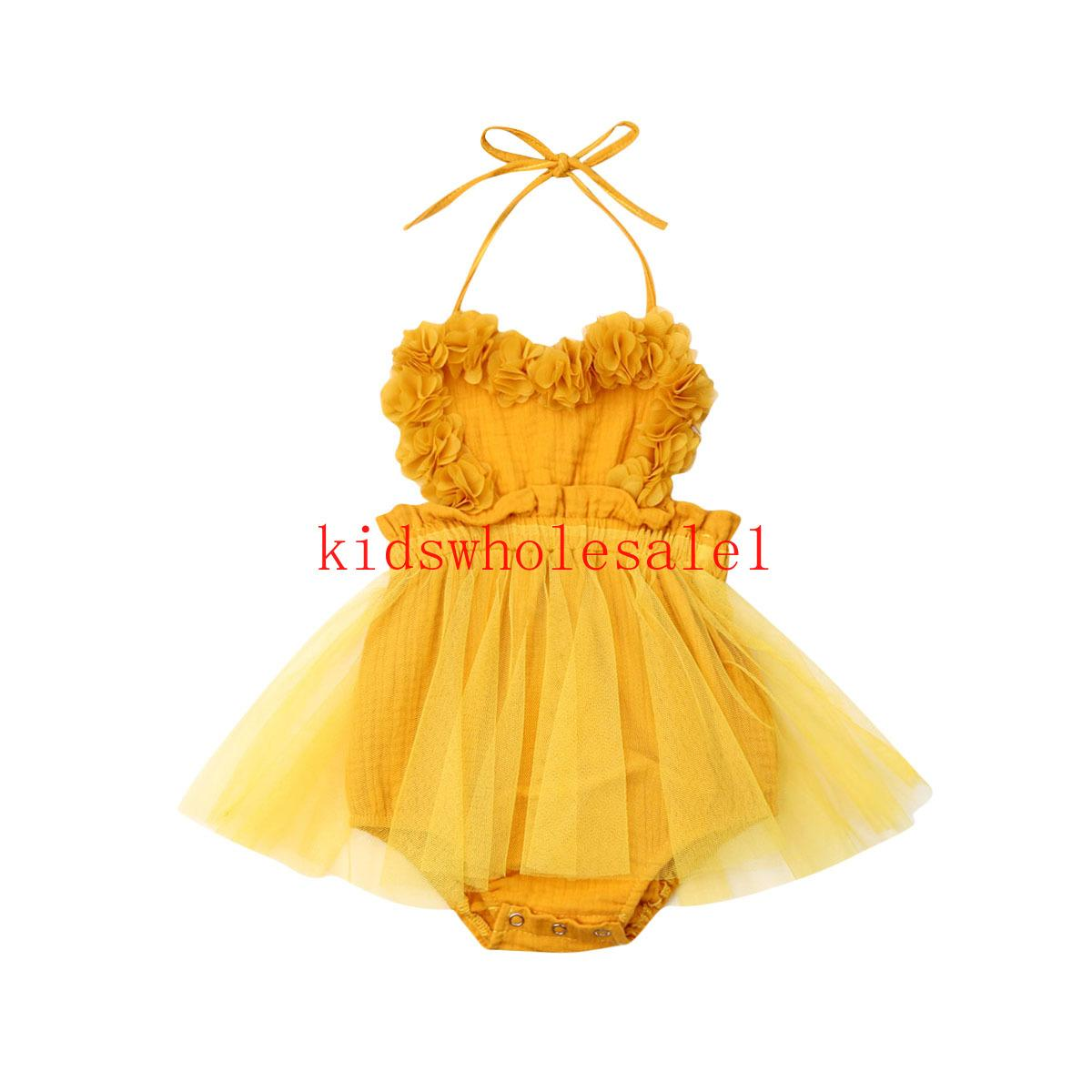 신생아 아기 소녀 얇은 명주 그물 뛰어 돌아 다니는 드레스 노란색 고체 레이스 민소매 벨트 점프 수트 의상 여름 의류