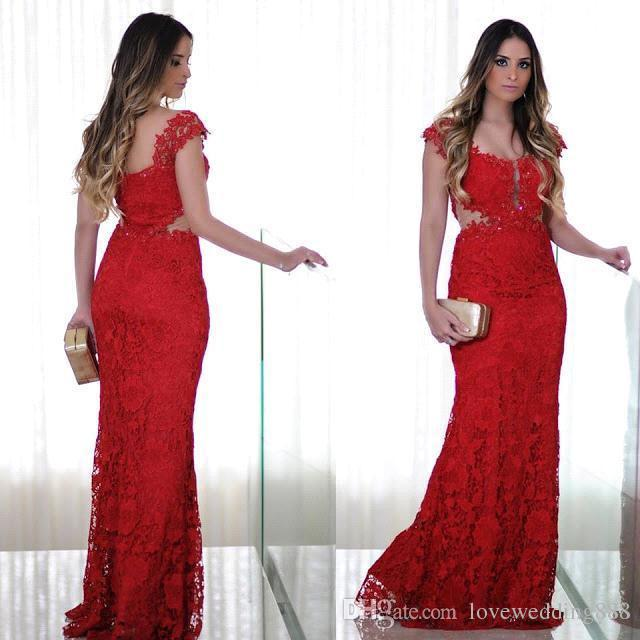 Prom Long Red Lace Evening Dresses 2019 Capped Sleeves See Through Waist Mother of the Bride Party Formal Gowns
