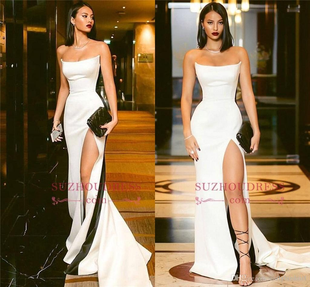 2019 Sexy Strapless Black and White Evening Dresses High Side Slit Mermaid Prom Dresses Sleeveless Sweep Train Cheap Party Gowns BC0527